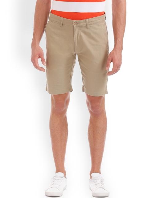 IZOD Men Beige Solid Slim Fit Chino Shorts