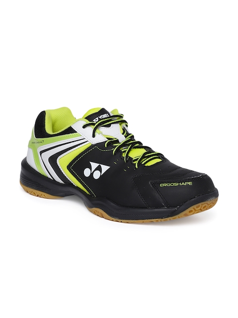 YONEX Men Black & Lime Green SHB 47 EX Badminton Shoes