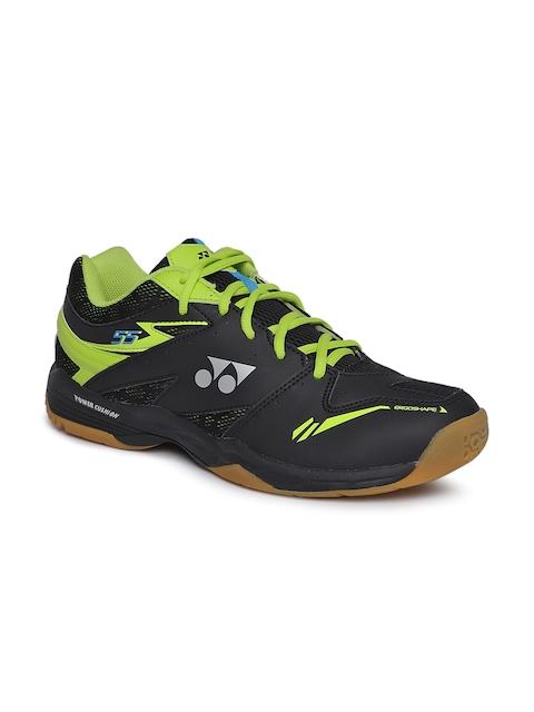 YONEX Men Black & Lime Green Power Cushion SHB 55 EX Badminton Shoes