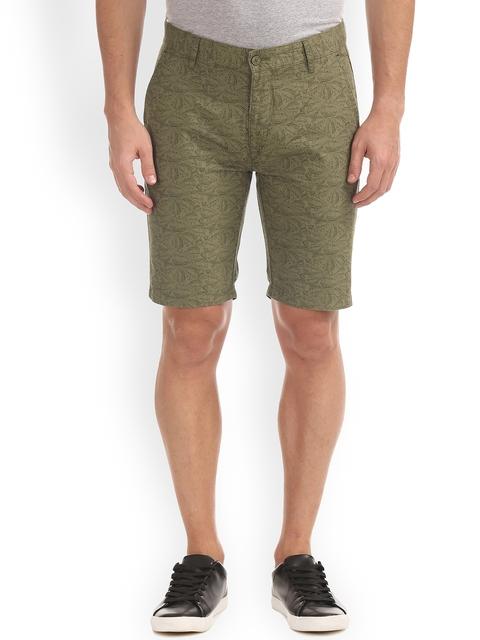 IZOD Men Olive Green Printed Slim Fit Regular Shorts
