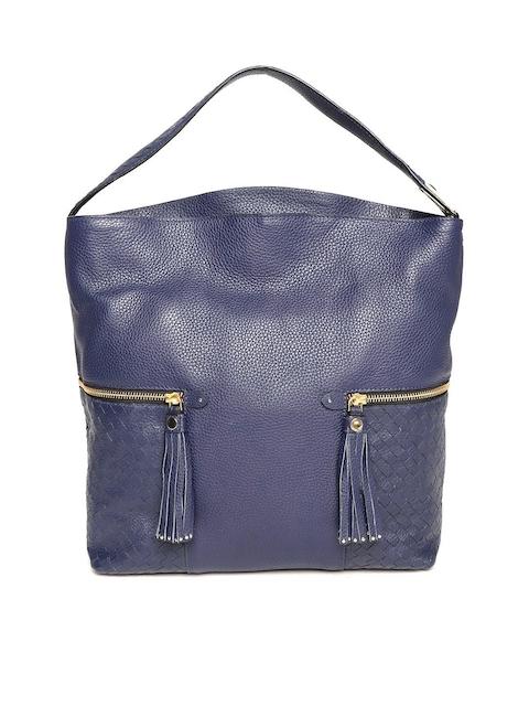 Da Milano Navy Blue Textured Leather Hobo Bag