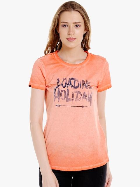 SPYKAR Women Orange Printed Round Neck T-shirt