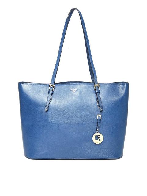 Da Milano Blue Textured Leather Shoulder Bag