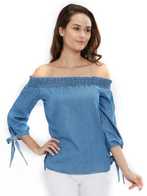 SPYKAR Women Blue Solid Bardot Top