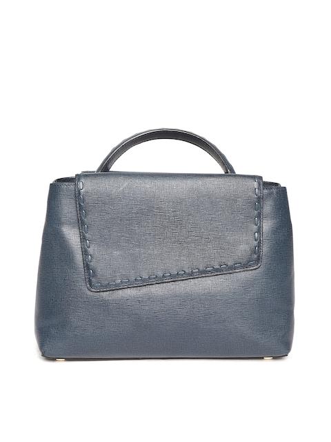 Da Milano Navy Blue Textured Leather Satchel