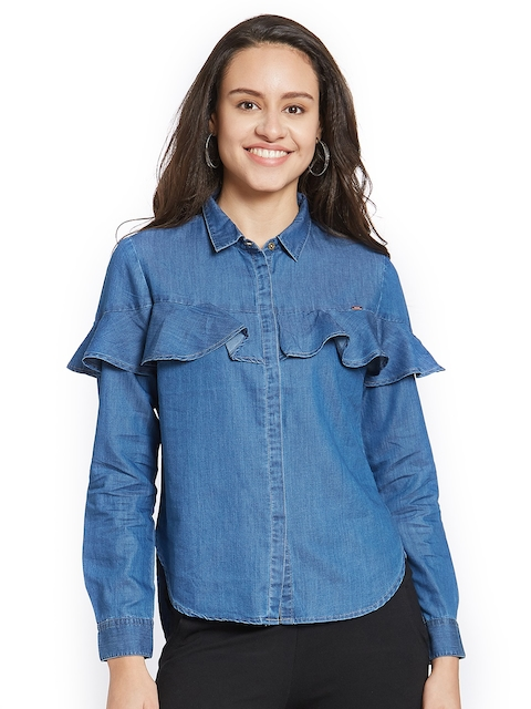 SPYKAR Women Blue Regular Fit Solid Casual Shirt