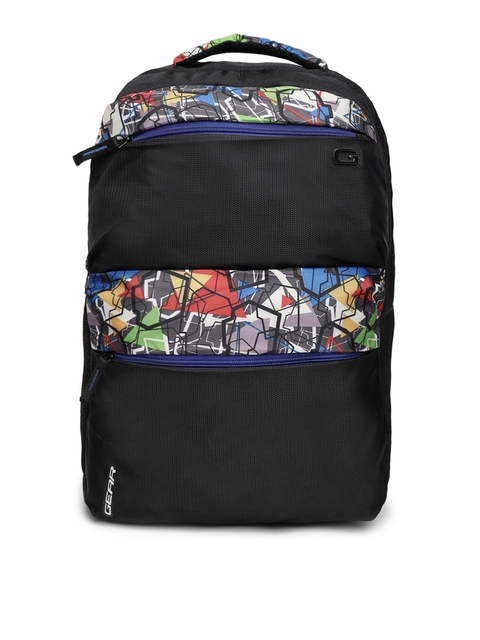 Gear Unisex Black Graphic Printed Backpack