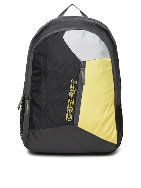 Gear Unisex Black & Yellow Colourblocked Backpack
