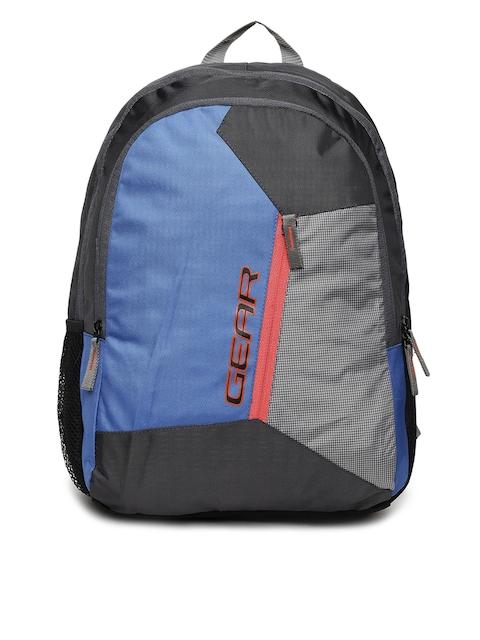 Gear Unisex Blue & Grey Colourblocked Backpack