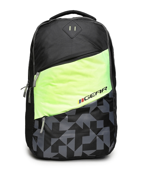 Gear Unisex Black & Lime Green Colourblocked Backpack