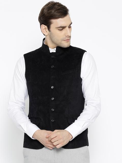 Blackberrys Men Black Solid Slim Fit Nehru Jacket