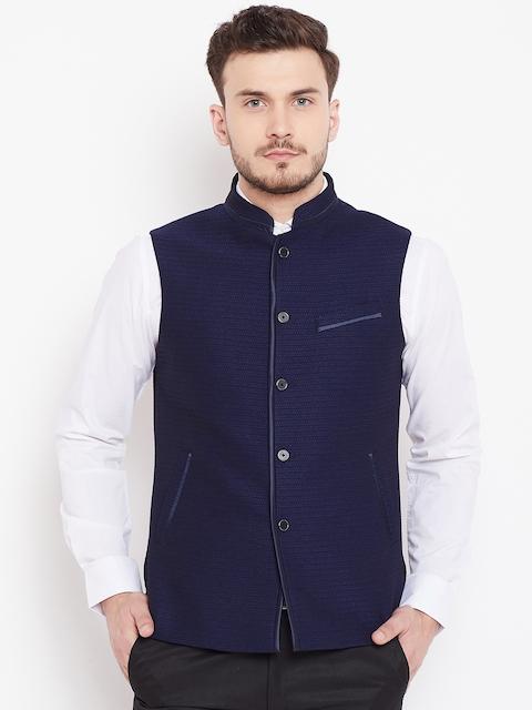 Blackberrys Men Navy Blue Textured Nehru Jacket