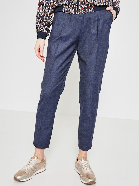 promod Women Blue Loose Fit Solid Peg Trousers With A Belt