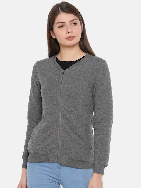 Fame Forever by Lifestyle Women Grey Solid Quilted Jacket