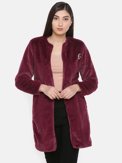 CODE by Lifestyle Women Burgundy Solid Tailored Jacket