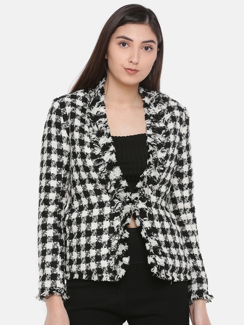 CODE by Lifestyle Women Black & White Self-Design Tailored Jacket
