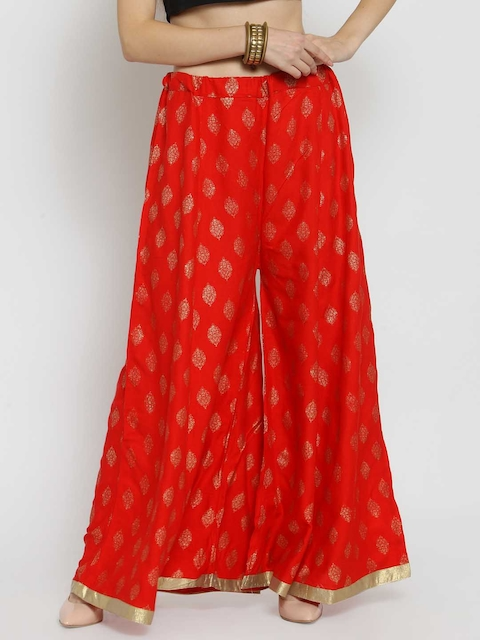 Castle Women Red Wide Leg Printed Palazzos