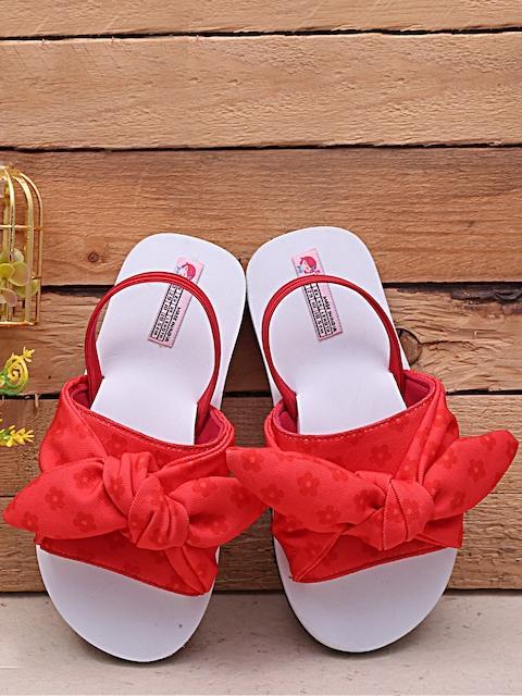 DChica Girls Red & White Printed Sliders