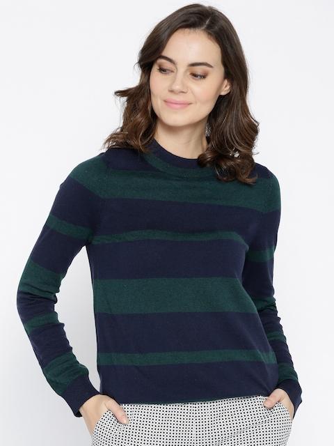 U.S. Polo Assn. Women Navy Blue & Green Striped Pullover