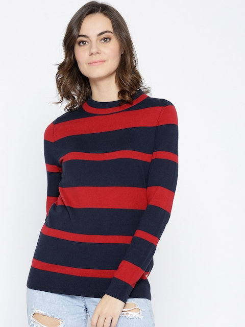 U.S. Polo Assn. Women Navy Blue & Red Striped Pullover