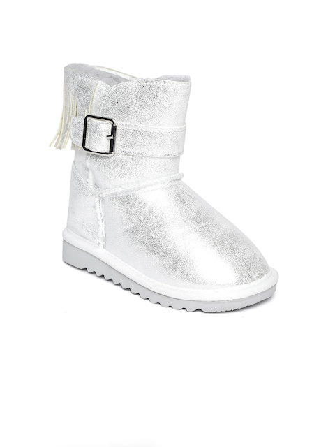 United Colors of Benetton Girls Silver-Toned Mid-Top Uggs