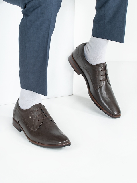ID Men Brown Leather Formal Derby