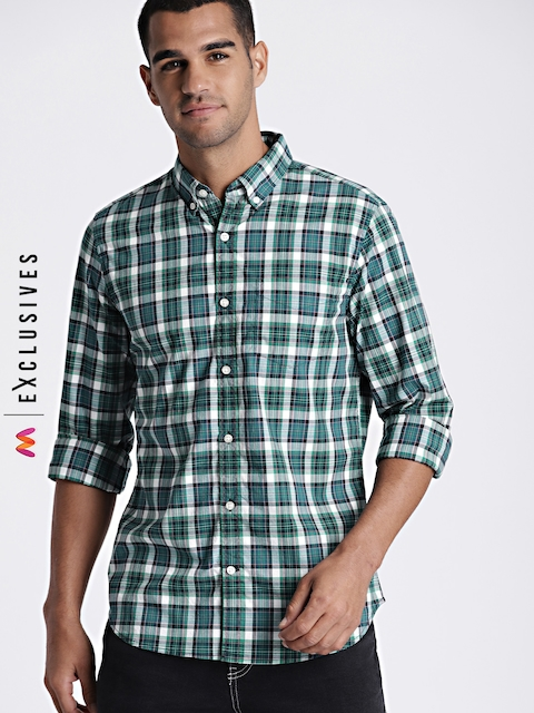 GAP Men Blue & Green Slim Fit Checked Casual Shirt