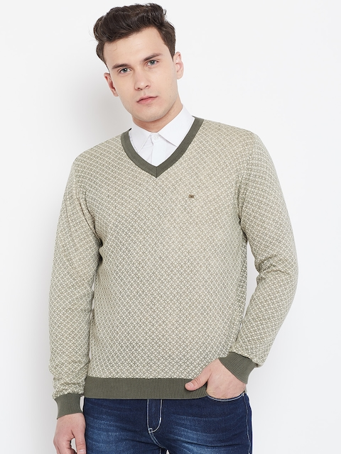Blackberrys Men Beige & Olive Green Printed Pullover