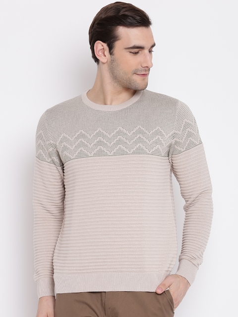 Blackberrys Men Beige Self Striped Pullover