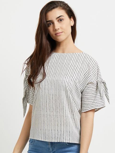 109F Women Beige & Black Striped Top