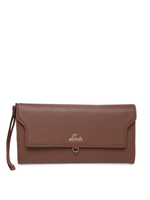 Lavie Women Tan Brown Solid Two Fold Wallet