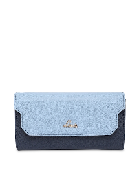 Lavie Women Blue Colourblocked Two Fold Wallet