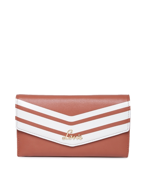 Lavie Women Tan Brown & White Striped Three Fold Wallet