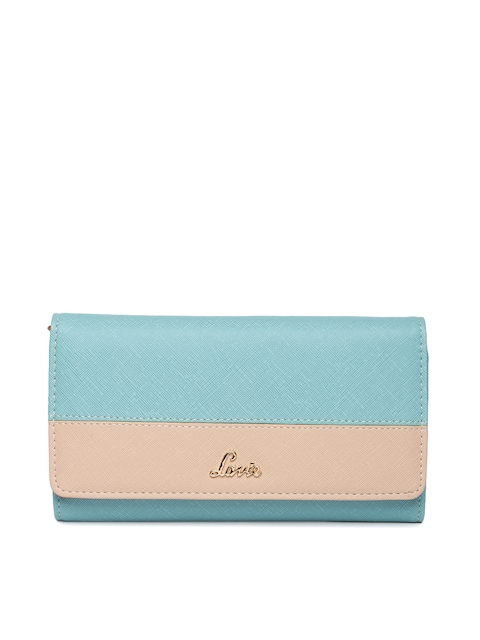 Lavie Women Turquoise Blue & Beige Colourblocked Three Fold Wallet