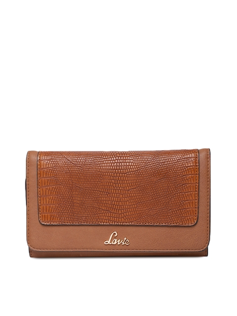 Lavie Women Tan Brown Textured Three Fold Wallet