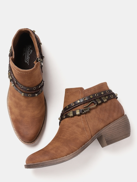 Roadster Women Brown Solid Heeled Boots