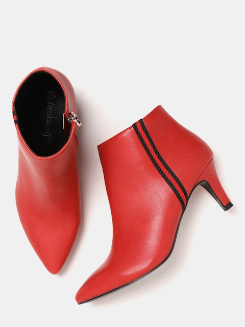 DressBerry Women Red Solid Heeled Boots