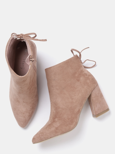 DressBerry Women Peach-Coloured Solid Heeled Boots