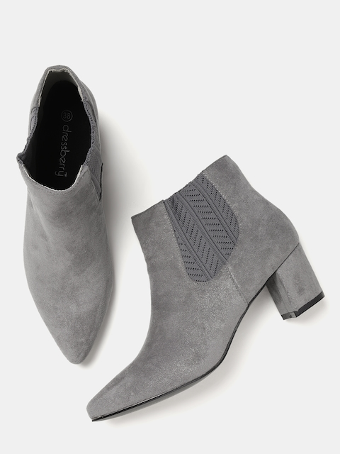 DressBerry Women Grey Solid Heeled Boots