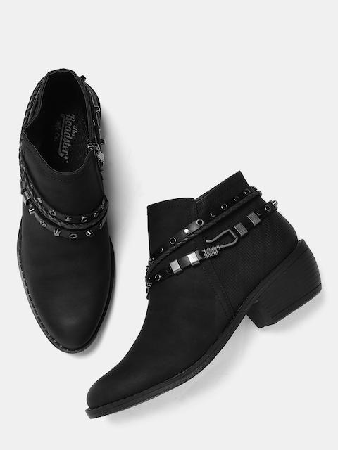 Roadster Women Black Solid Mid-Top Heeled Boots