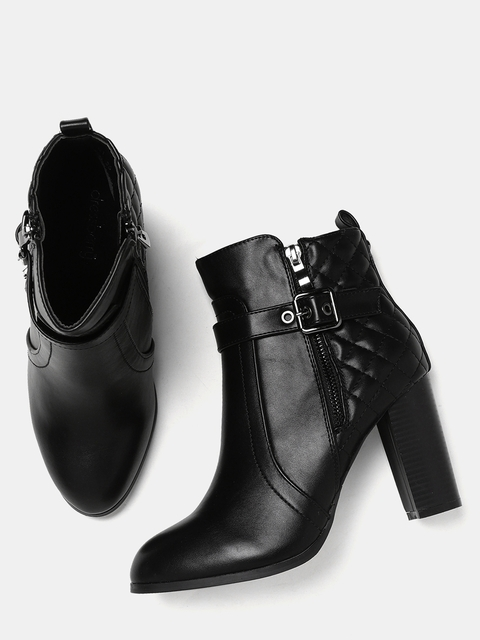 DressBerry Women Black Solid Heeled Boots