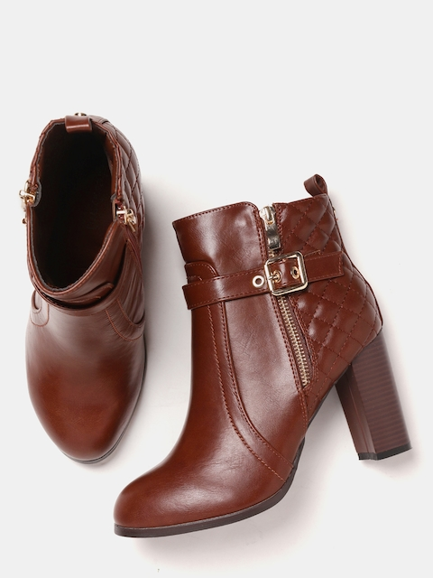 DressBerry Women Brown Solid Heeled Boots