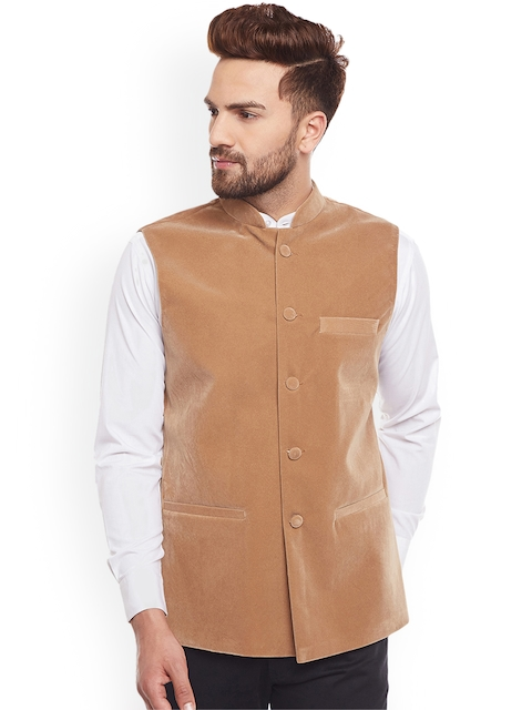 Hancock Men Tan Brown Nehru Jacket
