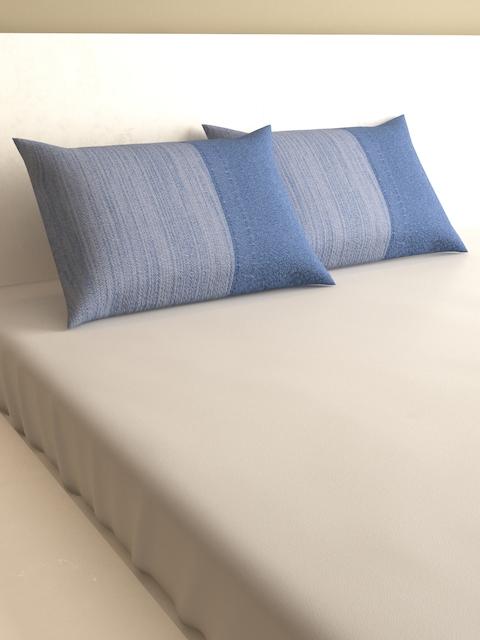 MARK HOME Blue Set of 2 600 TC Rectangular Pillow Covers