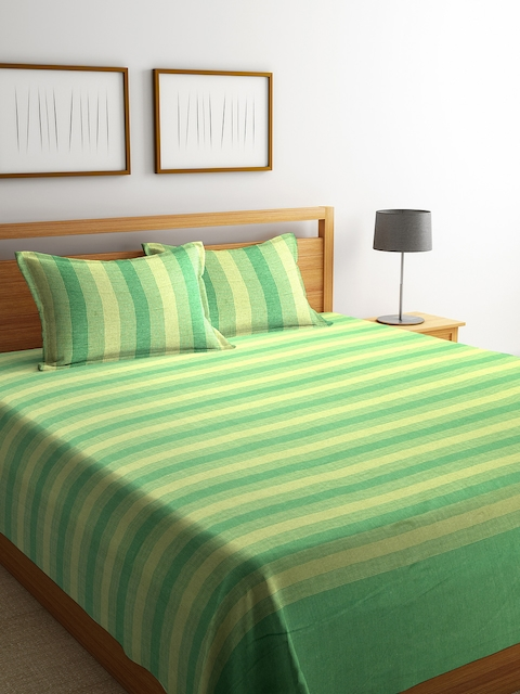 NEUDIS Green Striped Cotton Double Bed Cover with 2 Pillow Covers