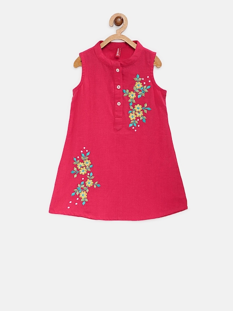 Ethnicity Girls Pink Embroidered A-Line Kurta