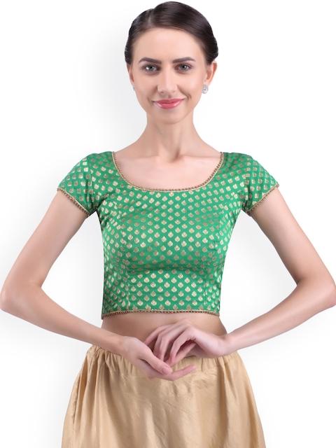 Yosshita & Neha Women Green Woven-Design Blouse