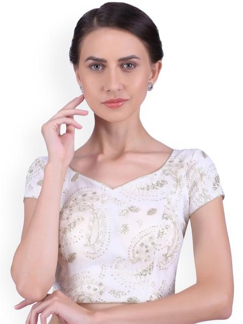 Yosshita & Neha Women Off-White Embroidered Blouse