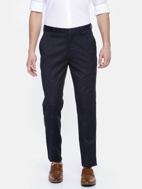 Jack & Jones Men Black & Navy Slim Fit Self Design Regular Trousers
