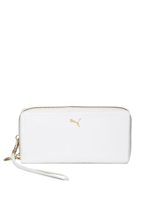 Puma Women White Solid Zip Around Wallet